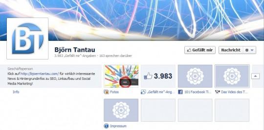 Facebook Timeline Impressum am Beispiel von Björn Tantau