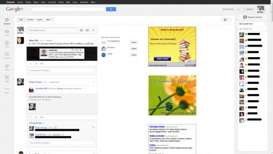 Google Whitespace mit Werbung