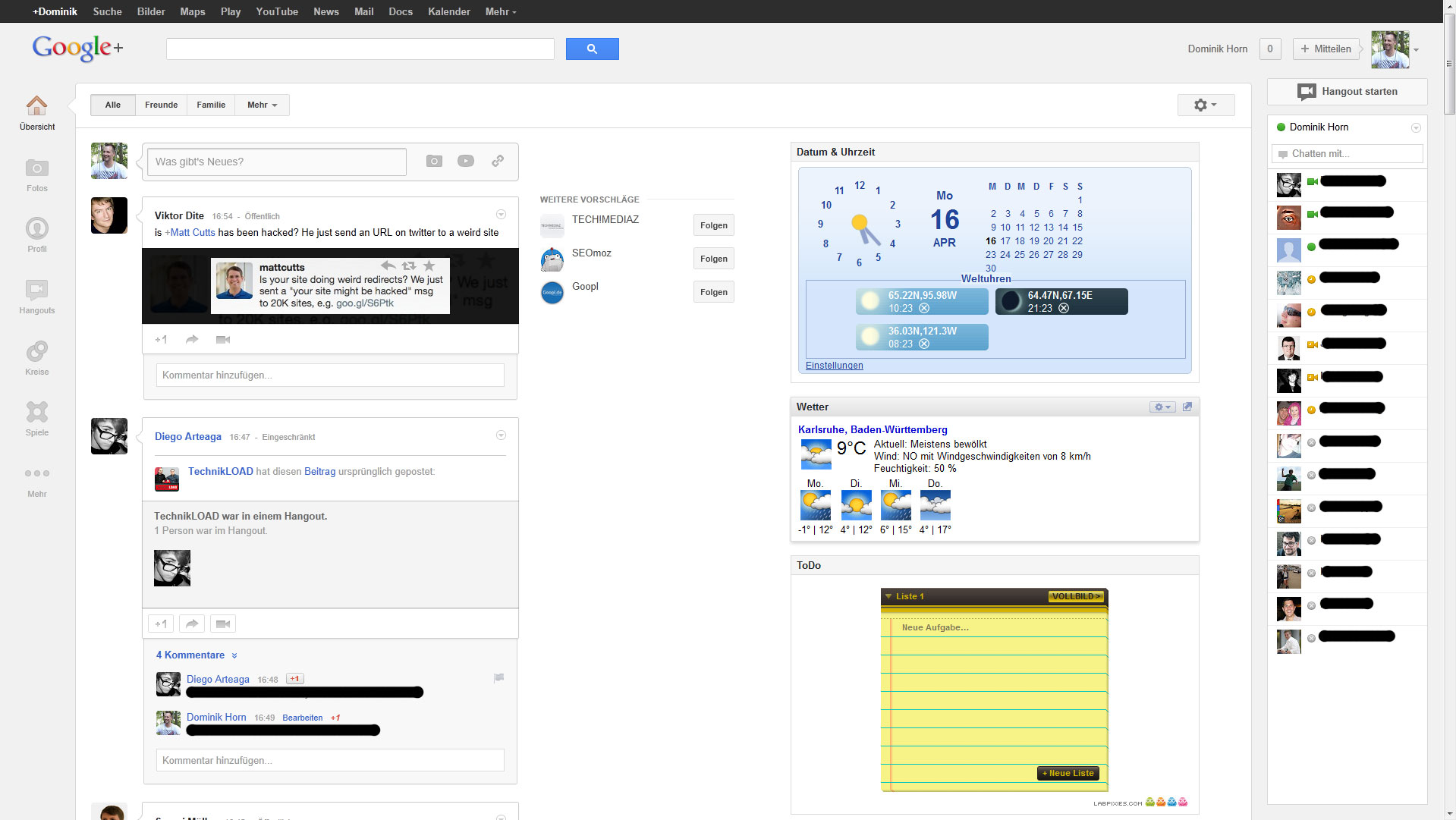 Google Whitespace mit Gadgets
