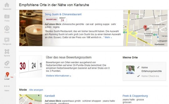 Google+ Local: Integration von Google Places in Google+