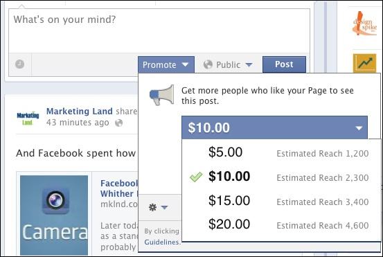 Dropdown-Menü zu Promoted Posts auf Facebook