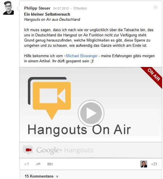 Google+ Beitragsgestaltung: Musterbeispiel von Philipp Steuer