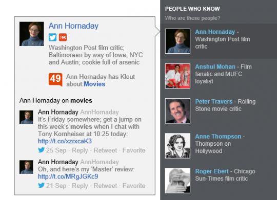 Klout-Score in Bing-Suchergebnissen