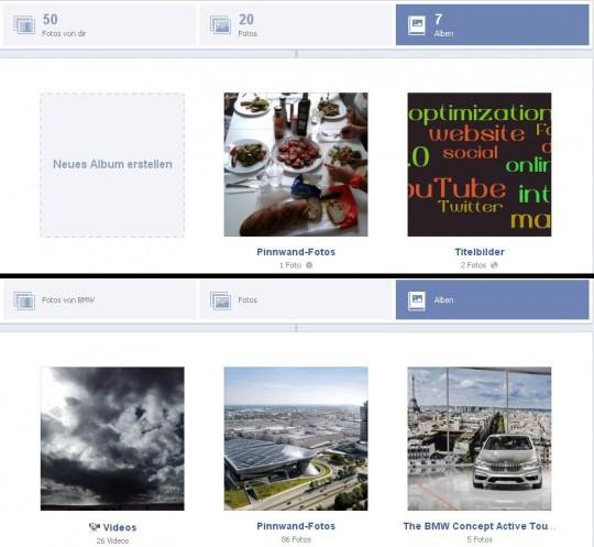Facebook Fotogalerie auf Profil und auf Seite im Vergleich