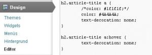 Textanker mit CSS formatieren im WordPress Design-Editor