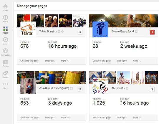 Google+ Seiten verwalten
