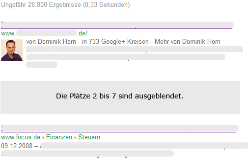 Screenshot der SERP