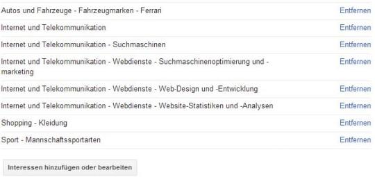 Meine Kategorien - Diese Interessen habe ich laut Google
