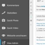 WordPress App Hauptmenü