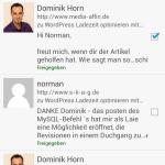 WordPress App Kommentarverwaltung