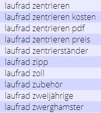 Laufrad Keyword Recherche