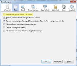 Browserstandard-Einstellung: neuer Tab statt neuem Fenster