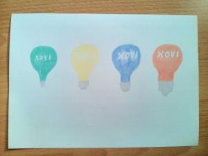 Xovilichter Glühbirnen in unterschiedlichen Größen in den Farben grün, gelb, blau und rot