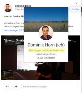Profil-Motto wird beim Hovern über einen Profillink angezeigt