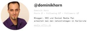 Profil: Dominik Horn bei Ello