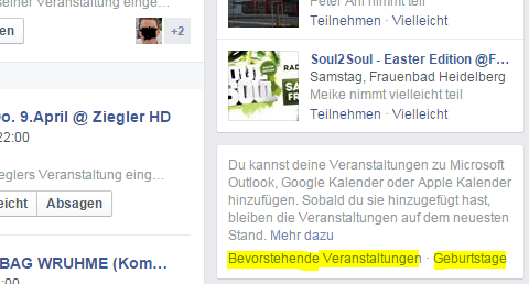 Facebook Veranstaltungen Webcal