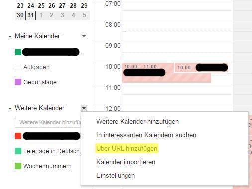 Google Kalender URL hinzufügen
