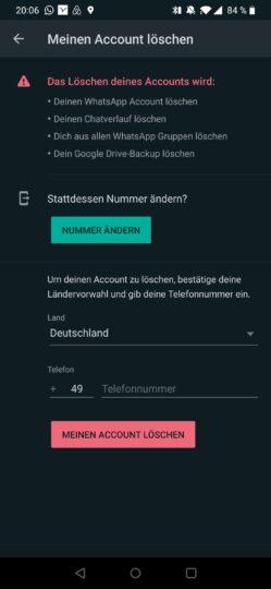 WhatsApp-Account löschen