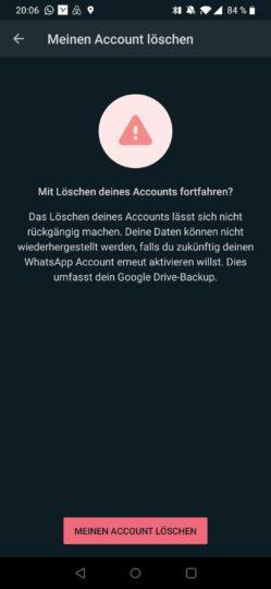 WhatsApp-Account löschen bestätigen