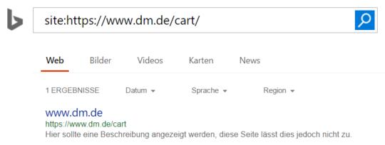 DM SERP-Snippet bei Bing mit Domain als title