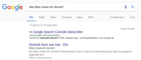 DM SERP-Snippet mit Dominik Horn war hier als Titel